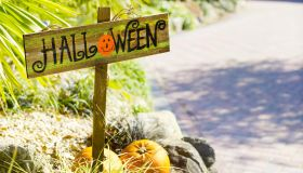 Halloween sign in driveway.