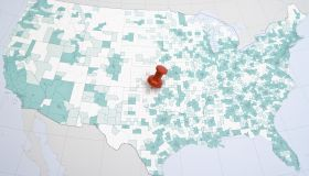 Map of USA with push pin, close-up