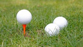 Golf club and golf balls on green grass