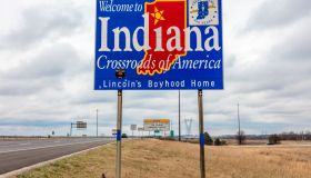 Welcome to the State of Indiana - Road sign along Interstate 70 towards St. Louis, MO.