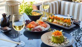 Sushi set, Shrimp tempura served with wasabi and ginger, soy sauce, white vine